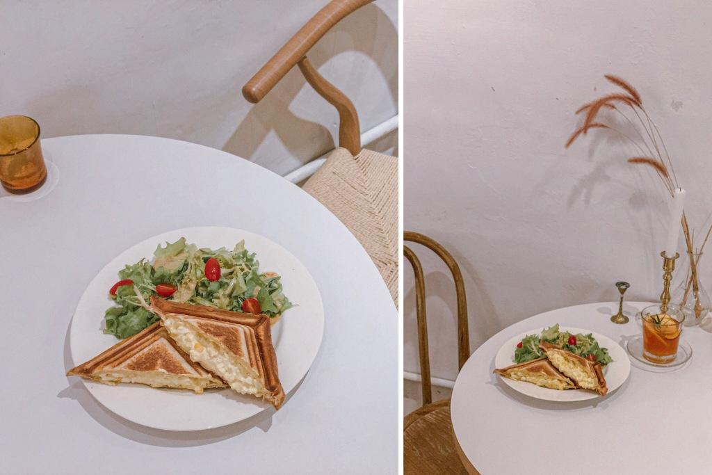 sansan小矮走跳日記-中山站咖啡廳 走進屋子裡 House go in 蛋沙拉烤土司