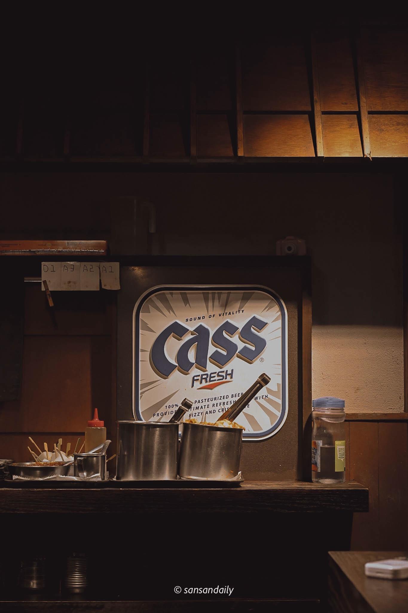 娘子韓食室內裝潢 韓國啤酒CASS酒標